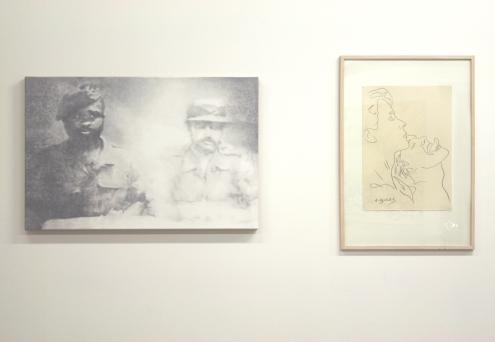 Xavier's work next to Andy Warhol's work / PHOTO Courtesy Xavier Robles de Medina