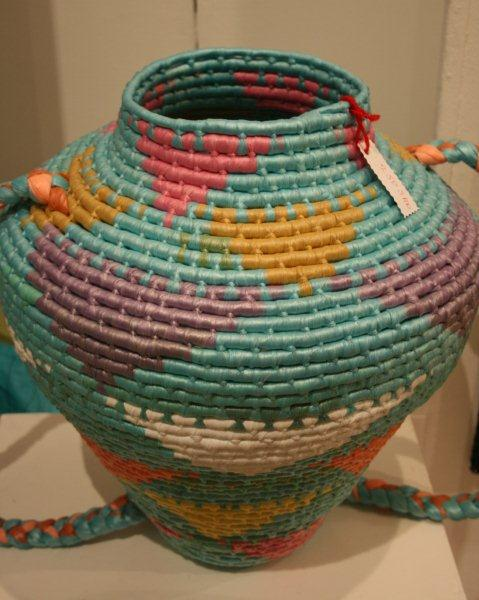 Artmarket 2012. Basket made from recycled plastic bags for UNDP project | PHOTO ©Marieke Visser, 2012