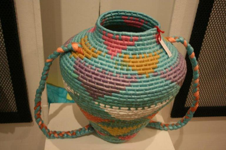 Artmarket 2012. Basket made from recycled plastic bags | PHOTO ©Marieke Visser, 2012