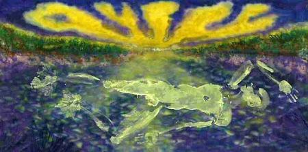 Felix de Rooy, 'River Spirit', mixed technique on canvas, 130x220