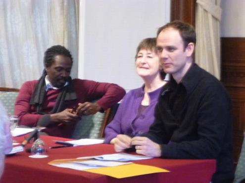 Dr. Wayne Modest (Head of the Curatorial Department at the Tropenmuseum), Dr. Kitty Zijlmans, Leiden University, Professor/Director Leiden University Centre for the Arts in Society (LUCAS)) and Dr. Leon Wainwright (The Open University, UK, Faculty of Arts, Art History) at 'Sustainable Art Communities: Creativity and Policy in the Transnational Caribbean' | PHOTO Open Ateliers Zuidoost, 2013