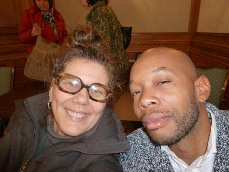 """Sasha Dees and Trinidad born now working and living in Japan visual artist Marlon Griffith, speaker at the conference """"Location and Action"""", at 'Sustainable Art Communities: Creativity and Policy in the Transnational Caribbean'   PHOTO Open Ateliers Zuidoost, 2013"""