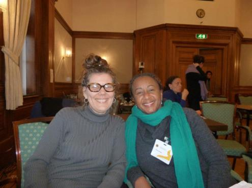 """Sasha Dees and dr. Erica James (Yale University, former director National Gallery in Bahamas, speaker at the conference """"Dreams of Utopia"""") at 'Sustainable Art Communities: Creativity and Policy in the Transnational Caribbean' 
