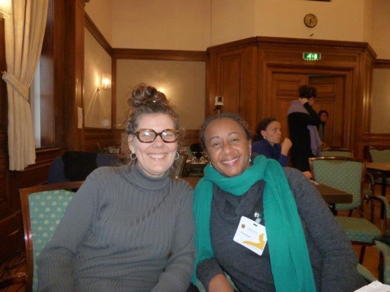 """Sasha Dees and dr. Erica James (Yale University, former director National Gallery in Bahamas, speaker at the conference """"Dreams of Utopia"""") at 'Sustainable Art Communities: Creativity and Policy in the Transnational Caribbean'   PHOTO Open Ateliers Zuidoost, 2013"""