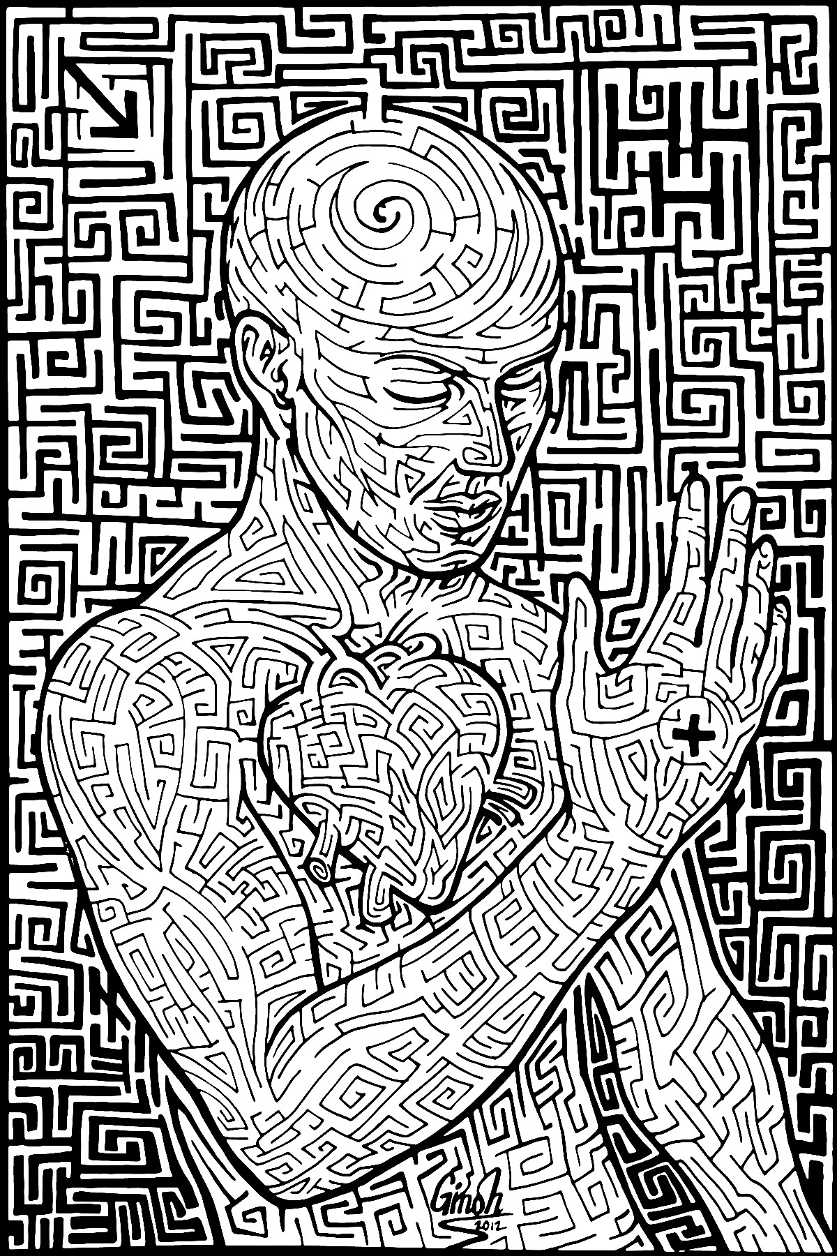 Free coloring pages of really hard mazes