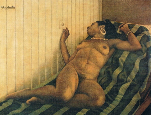 'Naakte vrouw op bed' [Nude Woman on a Bed], conté and pastel on triplex, 121x166cm, Nelson Collection, 1986