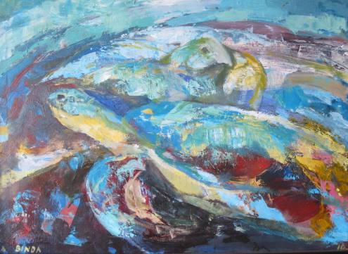 Anand Binda, 'Sea Turtles', acrylic on linen, 50x70cm, 2010   PHOTO Courtesy Artist