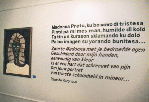 Charles Corsten (1927-1994), 'Madona Pretu', oil on hardboard, 1950, René de Rooy (1917-1974), poem 'Madonna Pretu', 1950 | PHOTO 'Curaçao Classics': René Emil Bergsma/Sinaya Wolfert