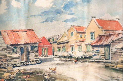 Joannes Pandellis (1896-1965), 'Erf in Otrobanda', watercolor on paper, 1946 | PHOTO 'Curaçao Classics': René Emil Bergsma/Sinaya Wolfert