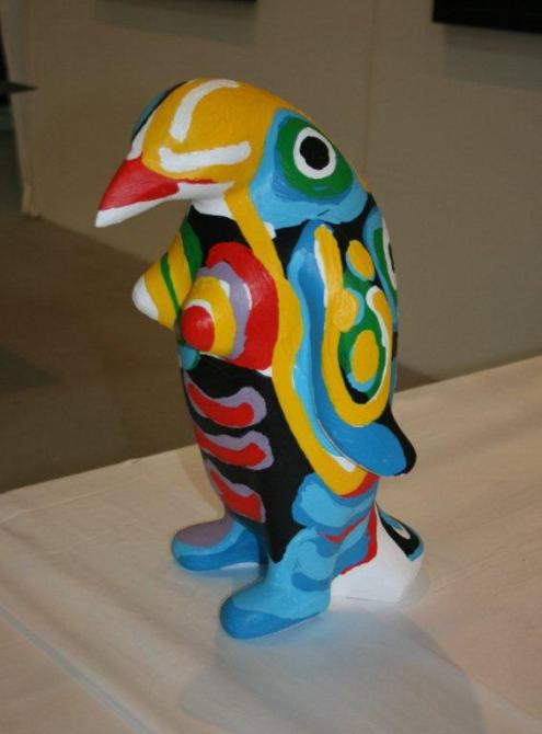 """Menno Baars, Penguin parade: 'Marilyn', polyester sculpture, handmade and painted by Menno Baars, 44 cm high and weigth app. 3 kilo - """"I believe in action, for penguin-protection"""", identification chip and unique penguin passport included 