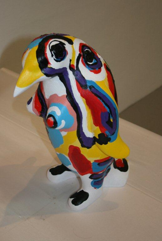 "Menno Baars, Penguin parade: 'Abigail', polyester sculpture, handmade and painted by Menno Baars, 44 cm high and weigth app. 3 kilo - ""Yes I'm a hit, I'm part of the penguin-myth"", identification chip and unique penguin passport included 