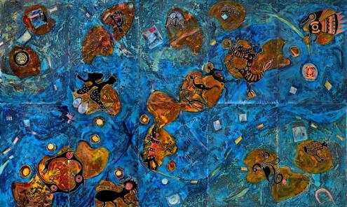 René Tosari, 'Diversity is Power', mixed media op doek, 500cmx300cm (separate parts 100cmx150cm), 2009 / PHOTO Courtesy Readytex Art Gallery