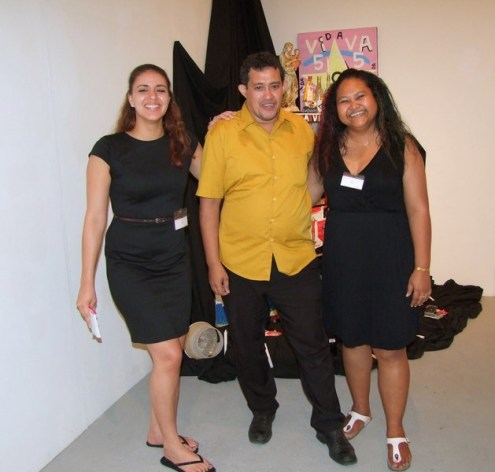 Kurt Nahar and two RAG Team members in front of his installation / PHOTO Ada Korbee, 2014