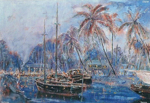 Egbert Lieveld, Schoeners te Coronie [Schooners at Coronie], oil on canvas, 66x97cm, 1985 (EBS Collection) / FOTO  Cliff San A Jong/Roy Tjin/Lucien Chin A Foeng, 2000