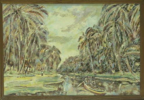 Egbert Lieveld, 'Zoetwaterkanaal te Totness'  [Fresh Water Canal in Totness], oil on canvas, 64x95cm, 1985 (Collection: Centrale Bank van Suriname) / PHOTO Roy Tjin, 2007