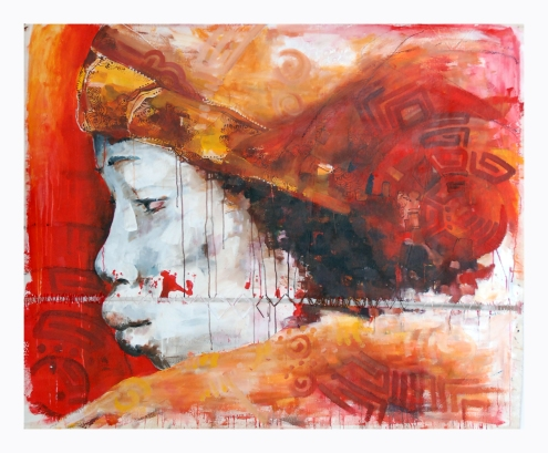 Sei Irodikromo, 'Hebi', mixed media on canvas, 157 cm wide x 152 cm high, 2013 / PHOTO Readytex Art Gallery/William Tsang
