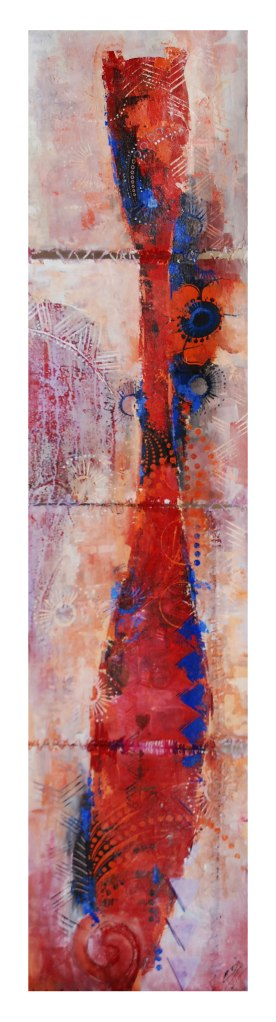 Sri Irodikromo, 'Pari', mixed media on canvas, 38x158cm, 2012 - USD 900 / PHOTO Readytex Art Gallery/William Tsang
