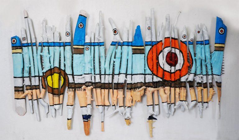 Roddney Tjon Poen Gie, 'Lifebuoy', acrylic on driftwood, 110wx79h, 2010 - USD 600 / PHOTO Readytex Art Gallery/William Tsang
