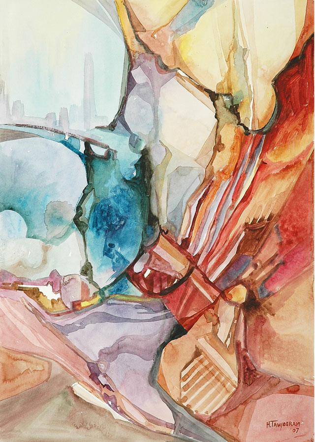 Humprey Tawjoeram, 'Vreemde omgeving' [Strange surroundings], mixed media on paper, 48x68cm, 2007 (from the exhibition 'New Impressions') - USD 400 / PHOTO Readytex Art Gallery/William Tsang