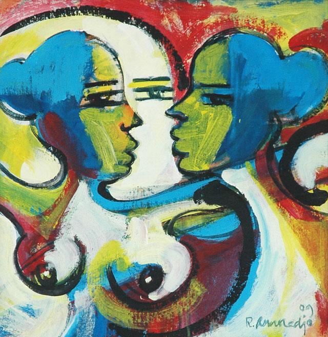 Reinier Asmoredjo, 'Vurige liefde' [Flaming love], acrylic on canvas, 46x47 cm, 2009 - USD 350 / PHOTO Readytex Art Gallery/William Tsang