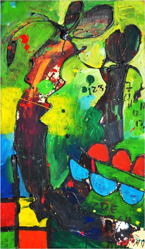 'Lob Makandra 2', mixed media on canvas, 35 cm wide x 60 cm high, 2012 - USD 350 / PHOTO Readytex Art Gallery/William Tsang
