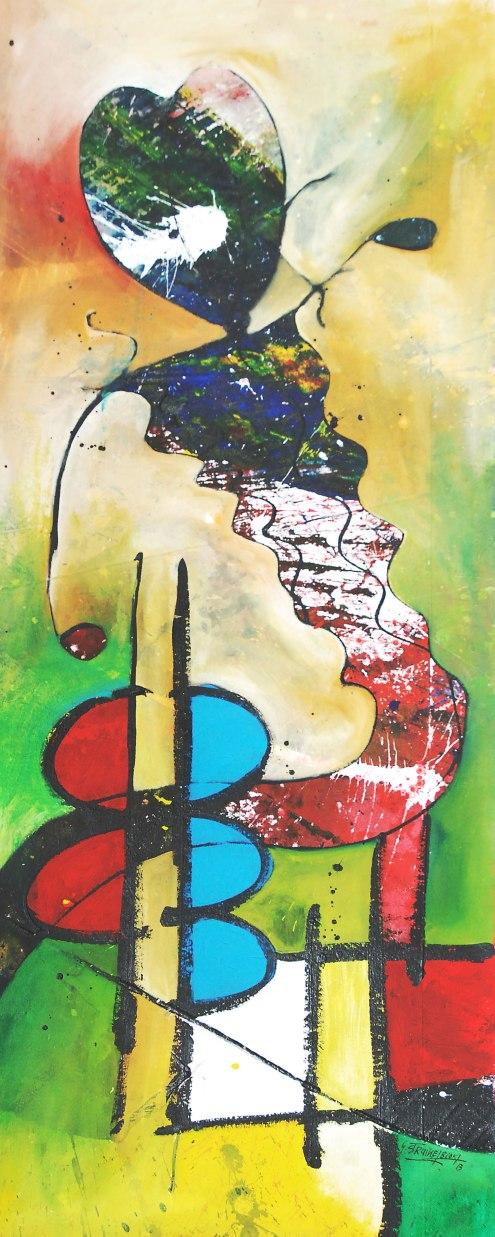 George Struikelblok, 'Mi lobi yu', mixed media on canvas, 57 cm wide x 145 cm high, 2013 - USD 800 / PHOTO Readytex Art Gallery/William Tsang