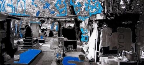 Berend Strik, 'Homeless people living in Jogjakarta cemetery', 140x70cm, mixed media, 2013 / PHOTO Courtesy artist