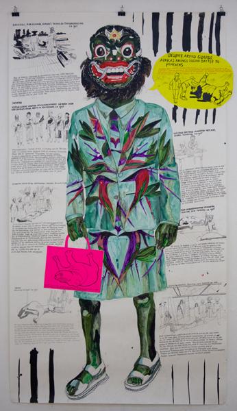 Charlotte Schleiffert, 'Despite armed guards, Africa's rhino's losing battle to poachers', mixed technique on paper, 300×150cm, 2013 / PHOTO Courtesy artist