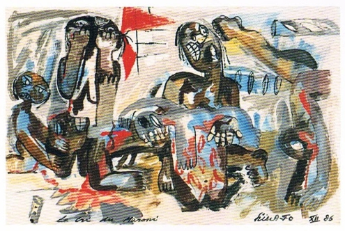 John Lie A Foe, 'Le cri du Maroni', acryl on wood, 120x244cm, 1986  / PHOTO From publication 'John Lie A Fo; Messenger from the jungle'