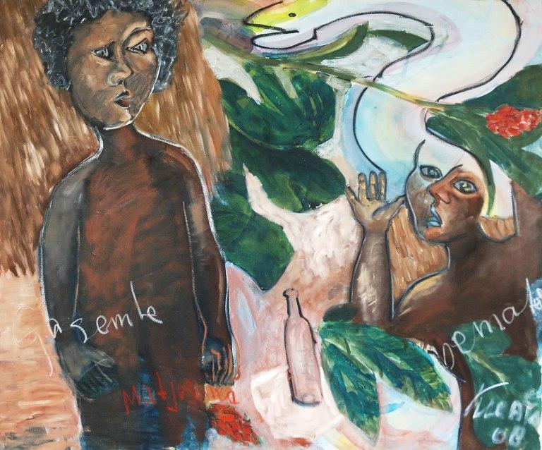 John Lie A Fo, 'Gsembe - matjoema', acryl on canvas, 100x120cm, 2008 - USD 3200 / PHOTO Readytex Art Gallery/William Tsang