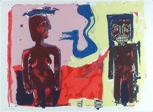 John Lie A Fo, 'Le Serpent Bleu', screenprint (6/60), 70x49cm, 2010 - USD 400 / PHOTO Readytex Art Gallery/William Tsang