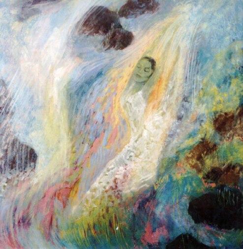 Kit-Ling Tjon Pian Gi, 'Down Stream', oil on hardboard, 80x80cm, 2006 - USD 500 / PHOTO Readytex Art Gallery/William Tsang