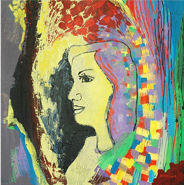 Kit-Ling Tjon Pian Gi, 'Petrogliefen uit het land van Jayvredice 4', acrylics on canvas, 80x80cm, 2009 - USD 750 / PHOTO Readytex Art Gallery/William Tsang