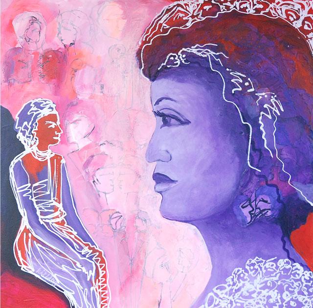 Kit-Ling Tjon Pian Gi, 'Woman Artist I', acrylics on canvas, 90x90cm, 2008 - USD 750 / PHOTO Readytex Art Gallery/William Tsang