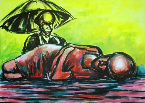 Dhiradj Ramsamoedj, 'De Beschermer' [The Protector], acryl on canvas, 114x100cm, 2014 - USD 700 / PHOTO Readytex Art Gallery/William Tsang