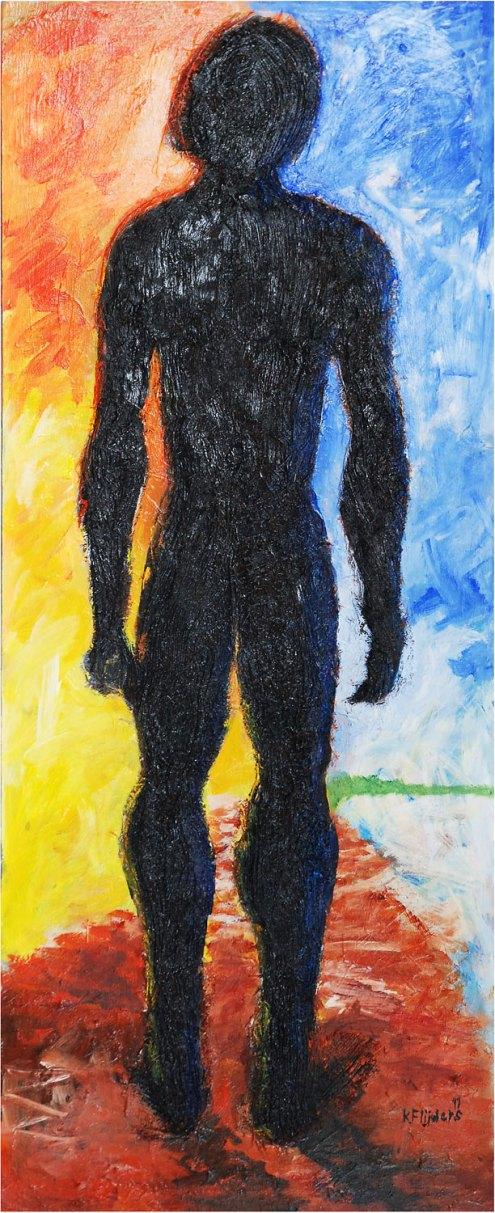 Kenneth Flijders, 'I shall call you Adam', mixed media on hardboard, 55 cm wide x 125 cm high x 2.5 cm deep, 2011 - USD 750 / PHOTO Readytex Art Gallery/William Tsang