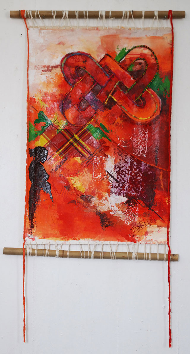 Sri Irodikromo, 'Pangi', mixed media on canvas, 53x77cm, 2012  - USD 700 / PHOTO Readytex Art Gallery/William Tsang