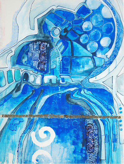 Sri Irodikromo, 'Blauw Misi', mixed media on canvas, 70x100cm, 2013  - USD 800 / PHOTO Readytex Art Gallery/William Tsang