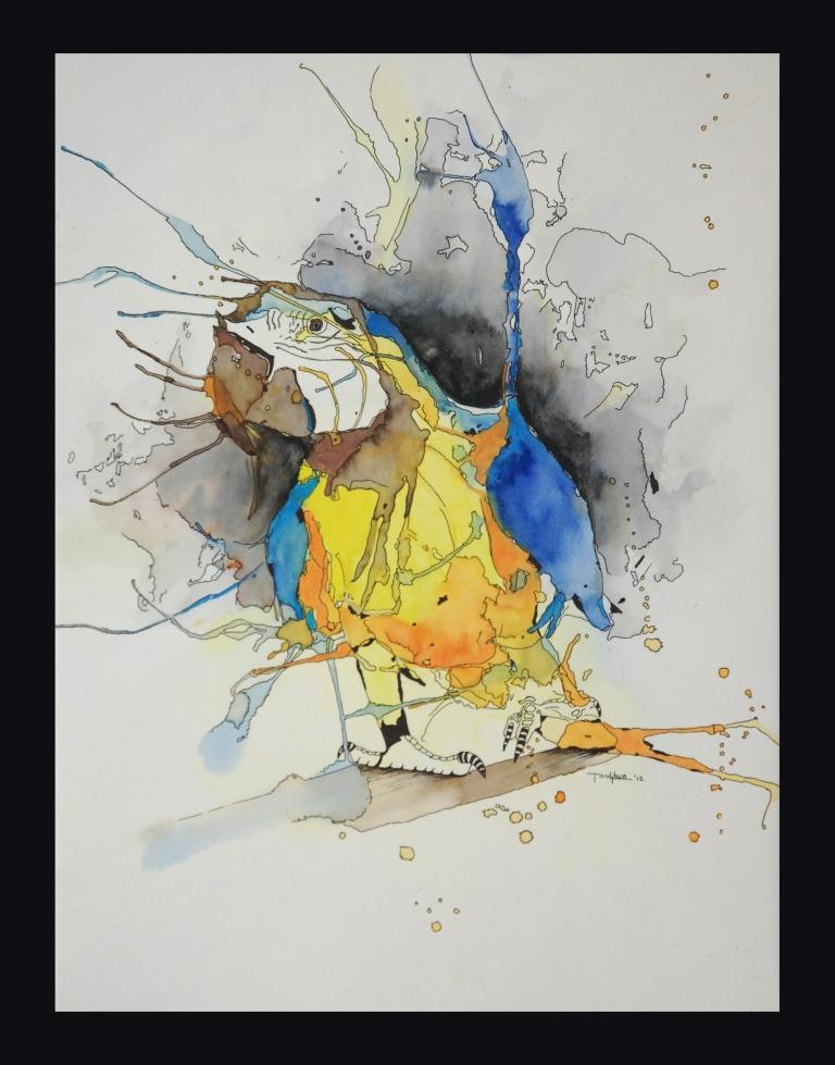 Sunil Puljhun, 'Papegaai V' [Parrot V], mixed media on paper, 47x63cm, 2012  - USD 155 / PHOTO Readytex Art Gallery/William Tsang
