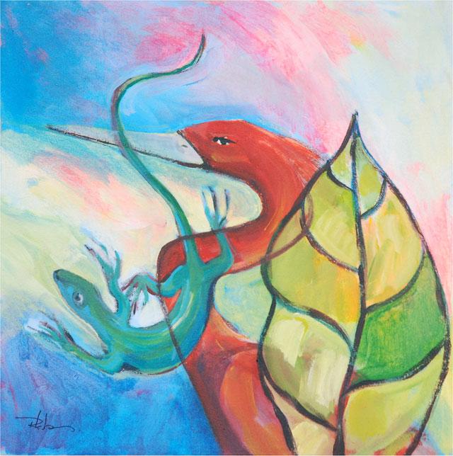 Rinaldo Klas, 'Red Ibis', acrylics on canvas, 50 cm wide x 50 cm high, 2014 - USD 500 / PHOTO Readytex Art Gallery/William Tsang