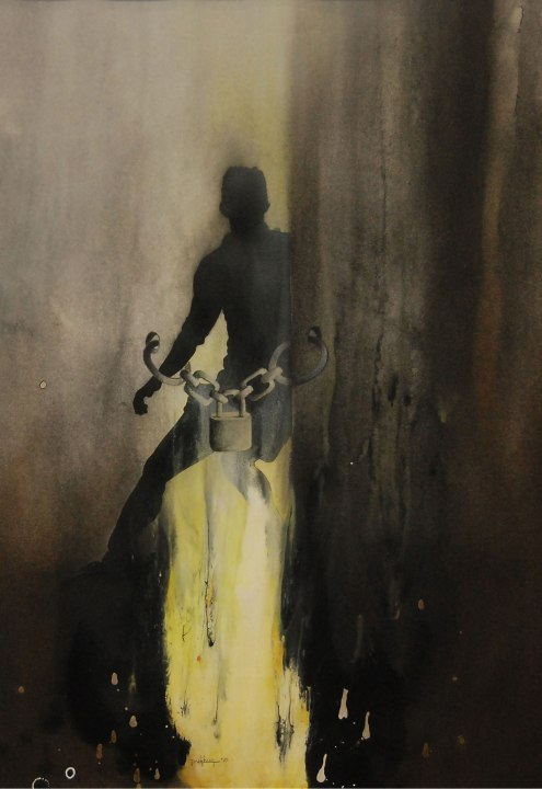 Sunil Puljhun, 'Freedom Fighter I', mixed media on paper, 75x55cm, 2010  - USD 400 / PHOTO Readytex Art Gallery/William Tsang