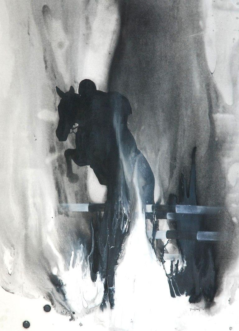 Sunil Puljhun, 'The Jump', mixed media on paper, 56x76cm, 2011  - USD 450 / PHOTO Readytex Art Gallery/William Tsang
