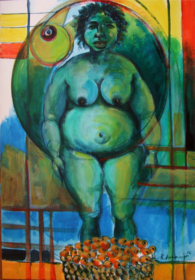 Reinier Asmoredjo, 'Fat muje', acrylic on canvas, 75 cm wide x 110 cm high, 2007 - USD 750 / PHOTO Readytex Art Gallery/William Tsang