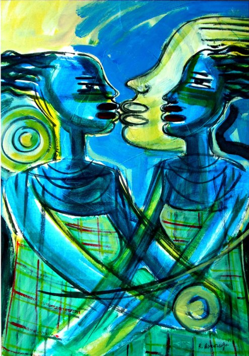 Reinier Asmoredjo, 'Girls', acrylic on canvas, 70 cm wide x 103 cm high, 2011 - USD 700 / PHOTO Readytex Art Gallery/William Tsang