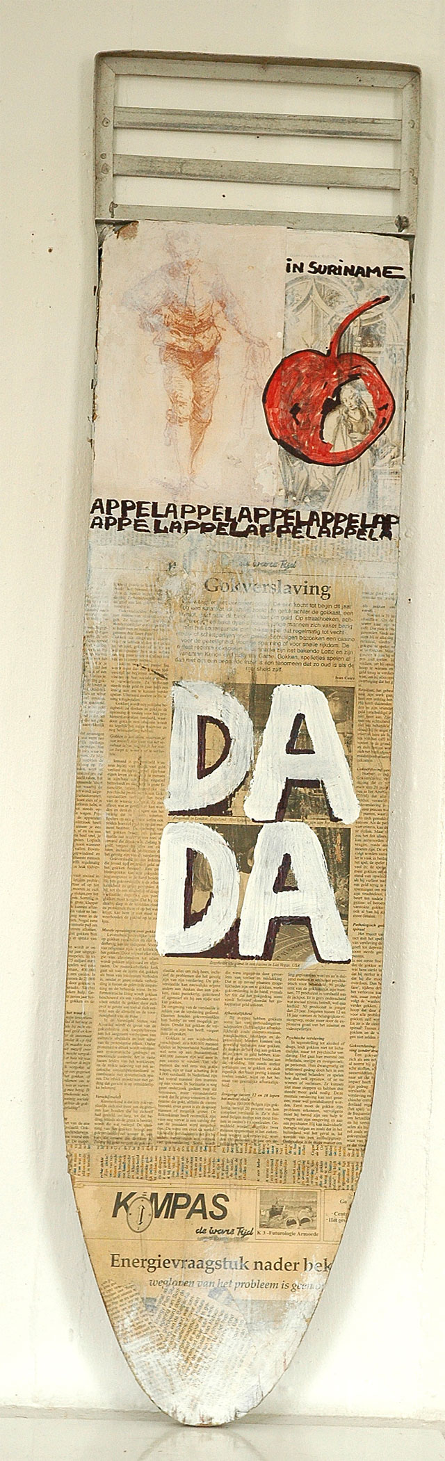 Kurt Nahar, 'Dada en de appel I' [Dada and the apple I], mixed media  on wood, 30x125x3cm, 2008  - USD 250 / PHOTO Readytex Art Gallery/William Tsang