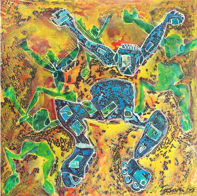 René Tosari, 'Digi battle I', mixed media on canvas, 90 cm wide x 90 cm high, 2008 - USD 1500 / PHOTO Readytex Art Gallery/William Tsang