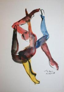 Before her 'one-liners' Els made several watercolors of figures that have maneuvered themselves in impossible positions. She calls those 'spagaten' (splits). From the splits series by Els Tjong Joe Wai / PHOTO Marieke Visser, 2014