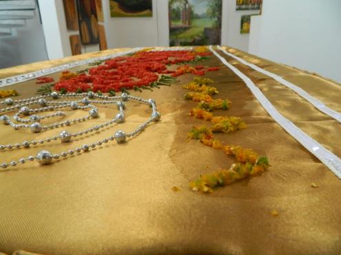 "An installation with fresh peppers, made by Razia Barsatie in French Guyana during an Inter Guyanese Cultural festival. ""What was important to me: the scent of pepper coming from the installation. The scent was actually the work of art; the patterns were just presentation."" / PHOTO Courtesy Razia Barsatie"