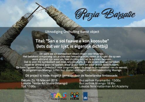 Invitation for unveiling installation by Razia Barsatie