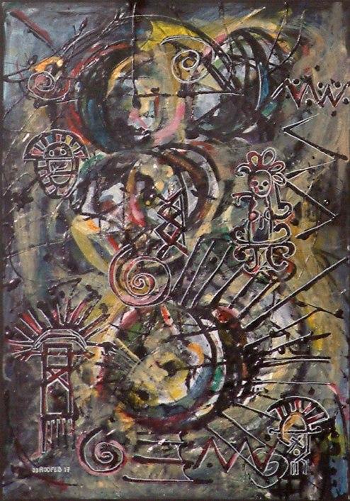 Roddney Tjon Poen Gie, 'Indigenous Conception II', mixed media on paper, 30x44cm, 2005 - USD 150 / PHOTO Readytex Art Gallery/William Tsang